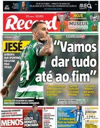 capa Jornal Record de 29 outubro 2019