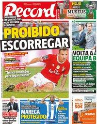 capa Jornal Record de 30 outubro 2019