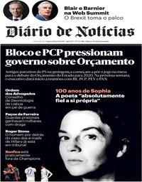 capa Diário de Notícias de 6 novembro 2019