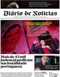 capa Diário de Notícias de 11 novembro 2019