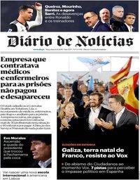 capa Diário de Notícias de 12 novembro 2019