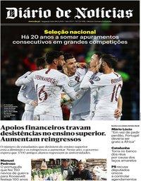 capa Diário de Notícias de 18 novembro 2019