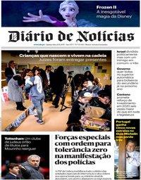 capa Diário de Notícias de 21 novembro 2019