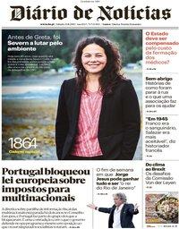 capa Diário de Notícias de 23 novembro 2019