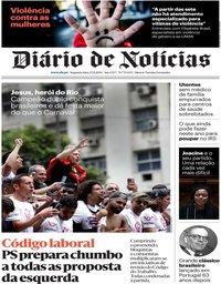 capa Diário de Notícias de 25 novembro 2019