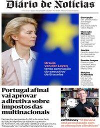 capa Diário de Notícias de 27 novembro 2019