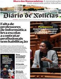 capa Diário de Notícias de 28 novembro 2019