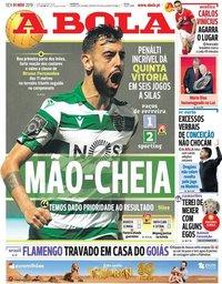 capa Jornal A Bola de 1 novembro 2019