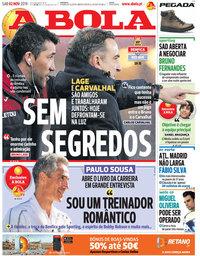 capa Jornal A Bola de 2 novembro 2019