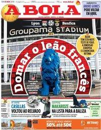capa Jornal A Bola de 5 novembro 2019