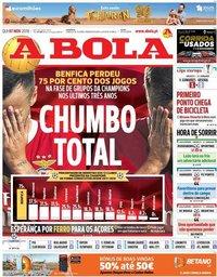 capa Jornal A Bola de 7 novembro 2019