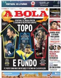 capa Jornal A Bola de 8 novembro 2019