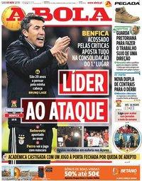capa Jornal A Bola de 9 novembro 2019