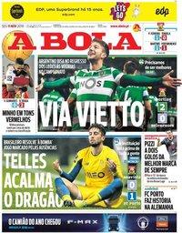 capa Jornal A Bola de 11 novembro 2019