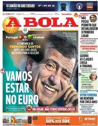 capa Jornal A Bola de 14 novembro 2019