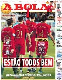 capa Jornal A Bola de 15 novembro 2019