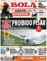 capa Jornal A Bola de 16 novembro 2019