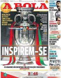 capa Jornal A Bola de 17 novembro 2019