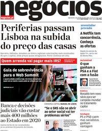capa Jornal de Negócios de 4 novembro 2019