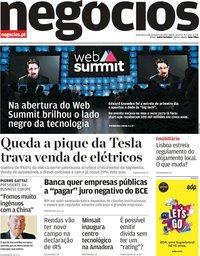 capa Jornal de Negócios de 5 novembro 2019