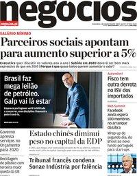 capa Jornal de Negócios de 6 novembro 2019