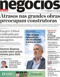 capa Jornal de Negócios de 7 novembro 2019