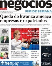 capa Jornal de Negócios de 8 novembro 2019