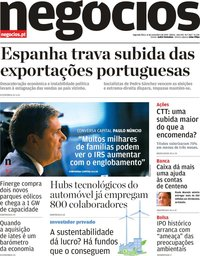 capa Jornal de Negócios de 11 novembro 2019