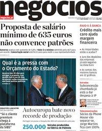 capa Jornal de Negócios de 13 novembro 2019