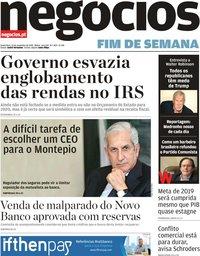 capa Jornal de Negócios de 15 novembro 2019