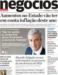 capa Jornal de Negócios de 18 novembro 2019