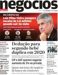 capa Jornal de Negócios de 20 novembro 2019