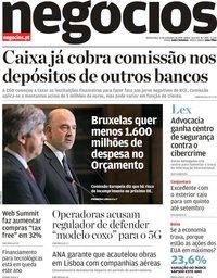capa Jornal de Negócios de 21 novembro 2019
