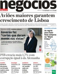 capa Jornal de Negócios de 25 novembro 2019