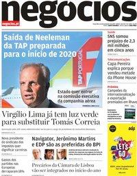 capa Jornal de Negócios de 26 novembro 2019