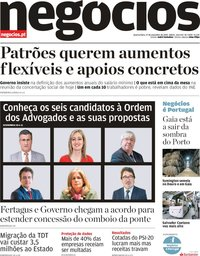 capa Jornal de Negócios de 27 novembro 2019