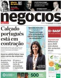 capa Jornal de Negócios de 28 novembro 2019