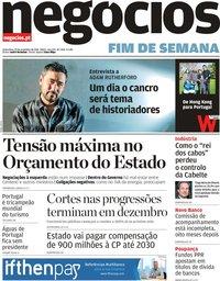 capa Jornal de Negócios de 29 novembro 2019