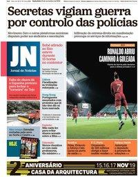 capa Jornal de Notícias de 15 novembro 2019