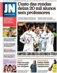 capa Jornal de Notícias de 18 novembro 2019