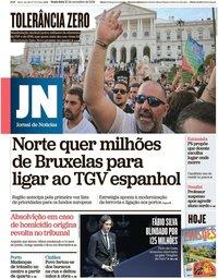 capa Jornal de Notícias de 22 novembro 2019