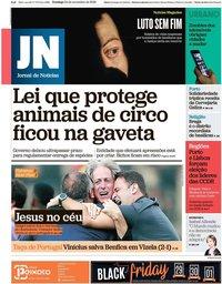 capa Jornal de Notícias de 24 novembro 2019
