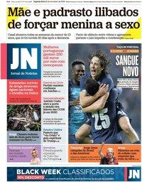 capa Jornal de Notícias de 25 novembro 2019