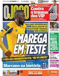 capa Jornal O Jogo de 5 novembro 2019
