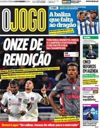 capa Jornal O Jogo de 6 novembro 2019