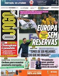 capa Jornal O Jogo de 7 novembro 2019