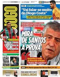 capa Jornal O Jogo de 14 novembro 2019