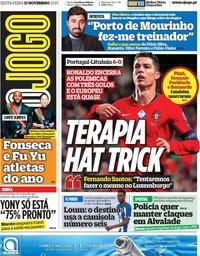 capa Jornal O Jogo de 15 novembro 2019