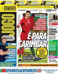 capa Jornal O Jogo de 17 novembro 2019