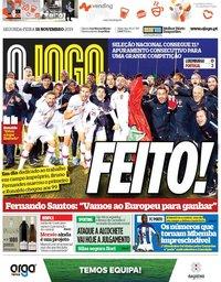 capa Jornal O Jogo de 18 novembro 2019